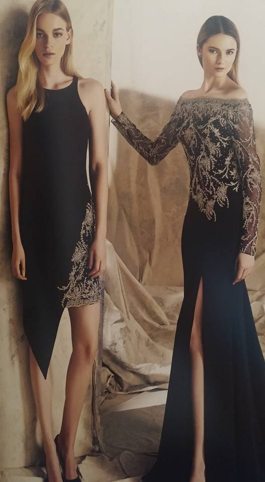 Robe libanaise noire moderne à motifs
