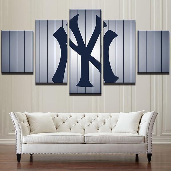 New York Yankees Baseball Team Logo Baseball Canvas Wall Art New York Yankees Baseball Yankee Room New York Yankees