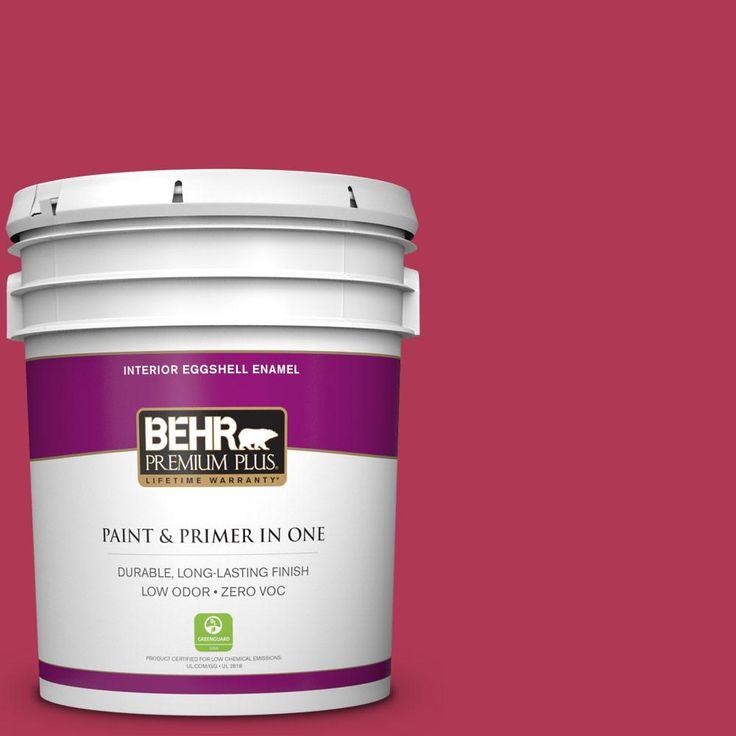 BEHR Premium Plus 5 gal. #130B-7 Cherry Wine Zero VOC Eggshell Enamel Interior Paint