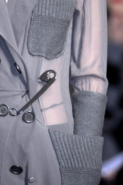 Lightweight coatigan with oversized safety pin feature - quirky fashion details // Sonia Rykiel
