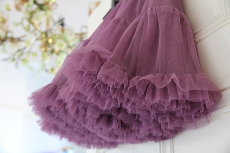 TUTU tulle petticoat underskirt crinolene MAUVE ballerina frilly underskirt flower girl gothic ROMANTIC wedding skirt Bridesmaids steampunk by footfetishsocks on Etsy