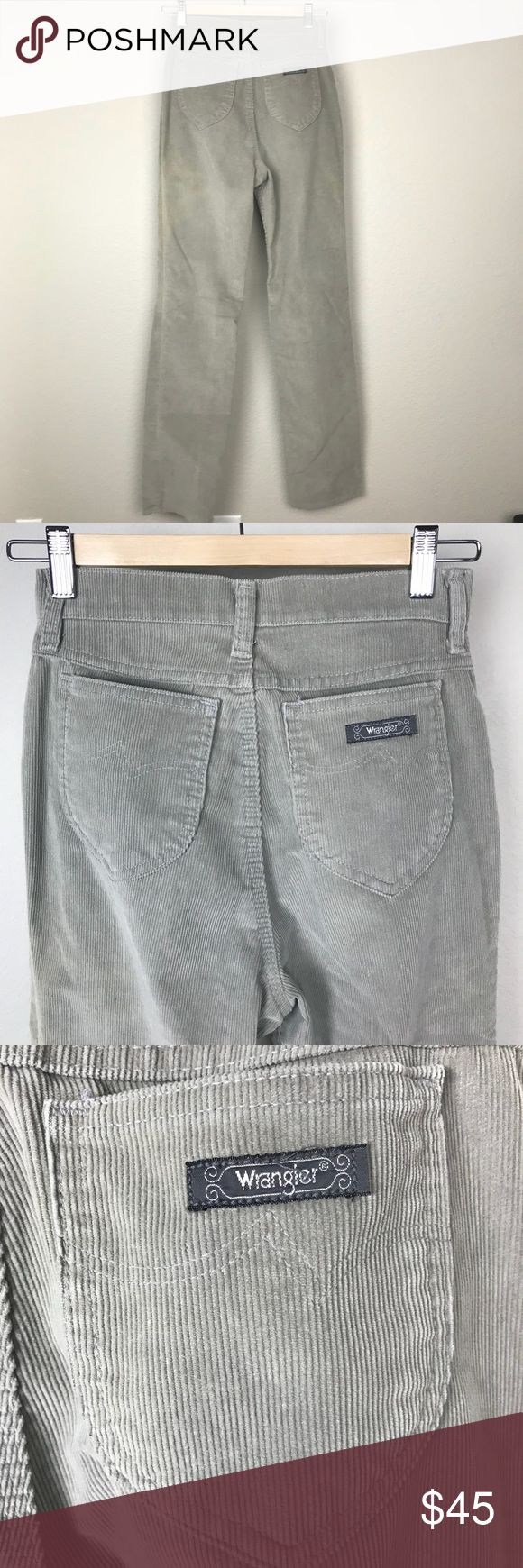 """VTG Wrangler High Waist Corduroy Mom Jean Pants Vintage Wrangler 100% cotton thin wale corduroy in a sandy neutral pale beige grey Yeezy looking color that goes with everything- especially black halter tops. Good used condition, no holes or tears but there is some sun fading. 24"""" waist, 17"""" hips and 32"""" inseam. Wear long and lean or cuff em wide. Tag says Misses 8. Made in the USA Wrangler Pants"""