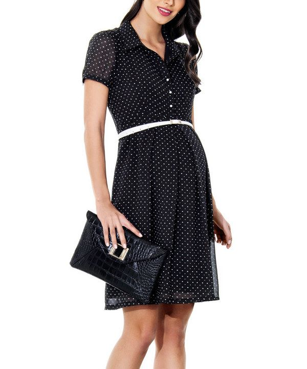Look at this Ebru Maternity Black & White Heart Maternity Shirt Dress - Women & Plus on #zulily today!