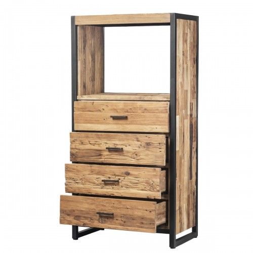 Bulang   lemari laci kayu jati besi desain industrial dekor rumah kafe shelf cabinet drawer furniture design interior