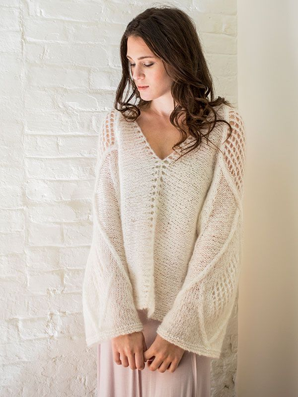 Lace and cable panels in ethereal mohair knit from center to cuff make Azimuth a stunning over-sized pullover.