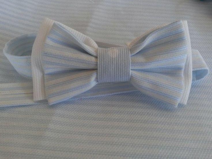 papillon azzurro a righe celesti,per bimbo ,realizzato a mano da borseefilati crochet