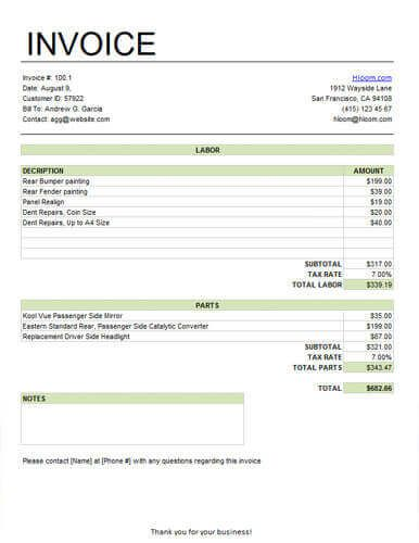 Basic Service Invoice for Labor and Parts with Tax
