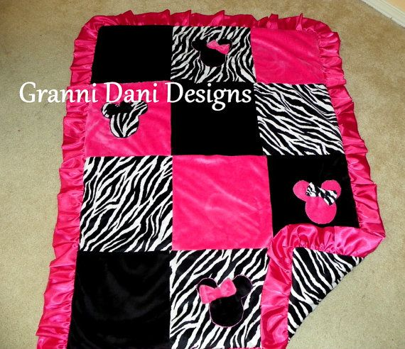Minnie mouse zebra baby girl hot pink black by GranniDaniDesigns