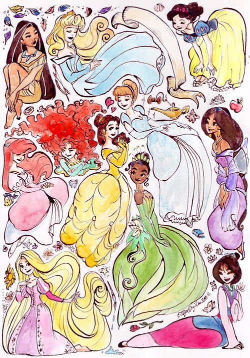 Disney Princesses: in my dream home this painting will hang in my Wrapping Paper room