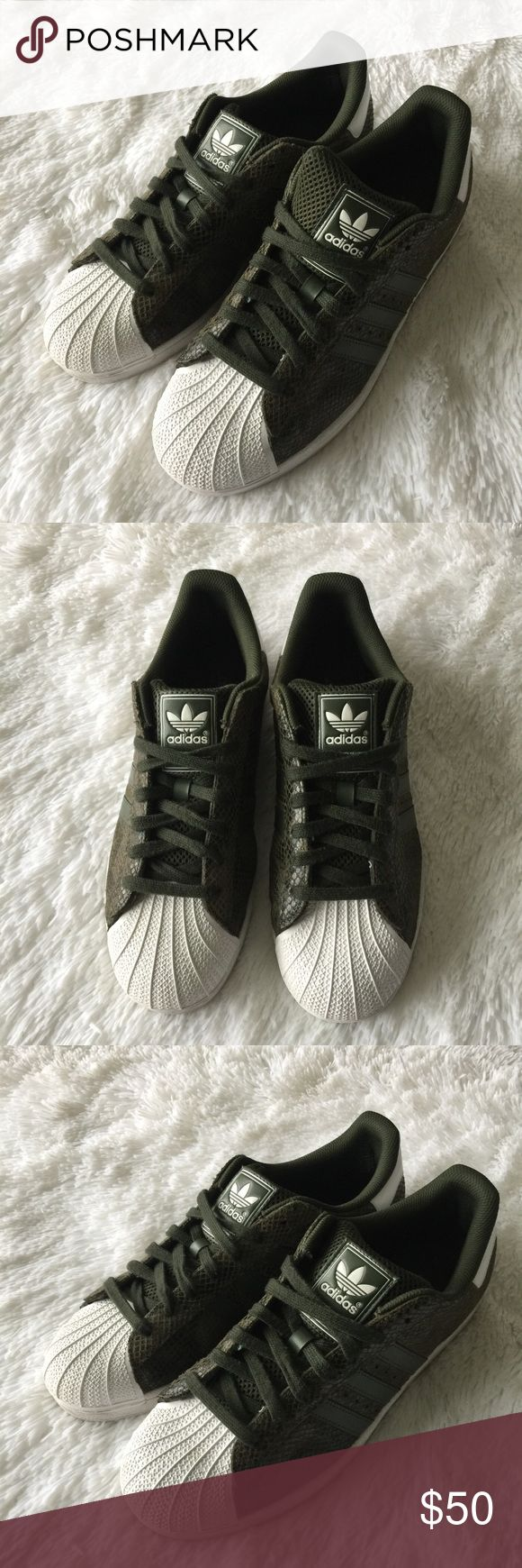 Adidas Superstar Shell Toe Pre-loved & in Great Condition / Snakeskin /  Camouflage / Olive Green & Black adidas Shoes Sneakers