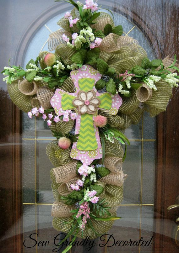 Easter Cross Wreath  Easter Door or Wall by SewGrandlyDecorated, $139.67