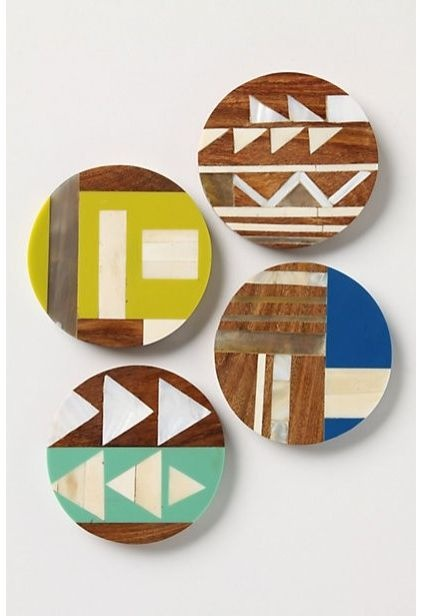 Coasters - sheesham wood inlaid with bone, mother-of-pearl, horn and resin in graphic designs.