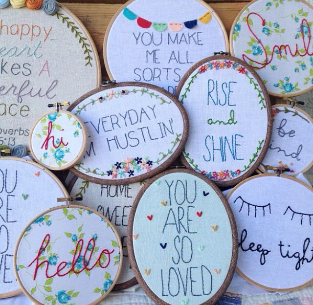 Embroidery hooped art