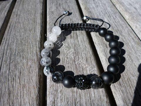 Yin Yang Rutilated Quartz and Matte Black Agate Shamballa Bracelet