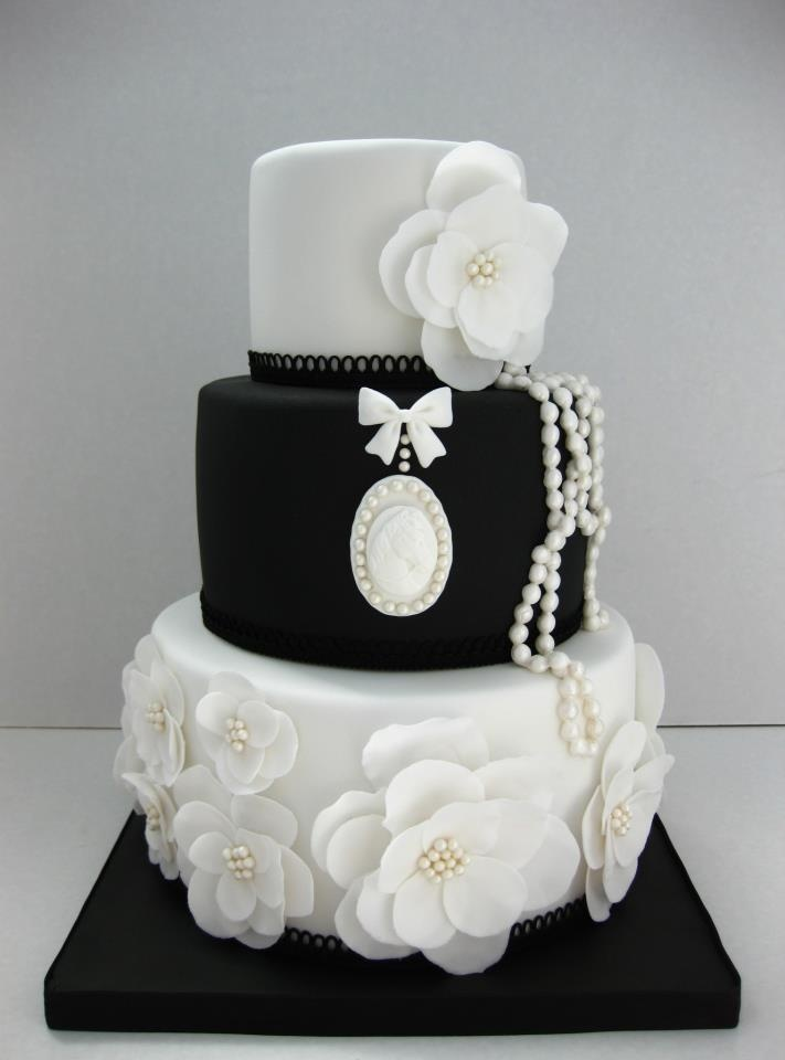 I FOUND MY WEDDING CAKE!! I would probably do a full white cake with pink and black on it. black white vintage pearls wedding cake.