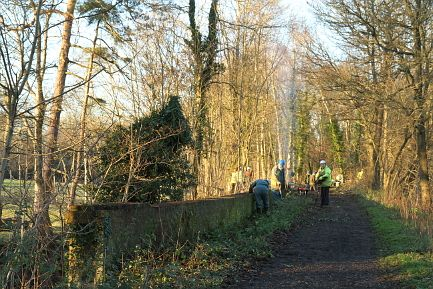 Work starts at Whipley railway bridge over the canal near Cranleigh, Surrey.