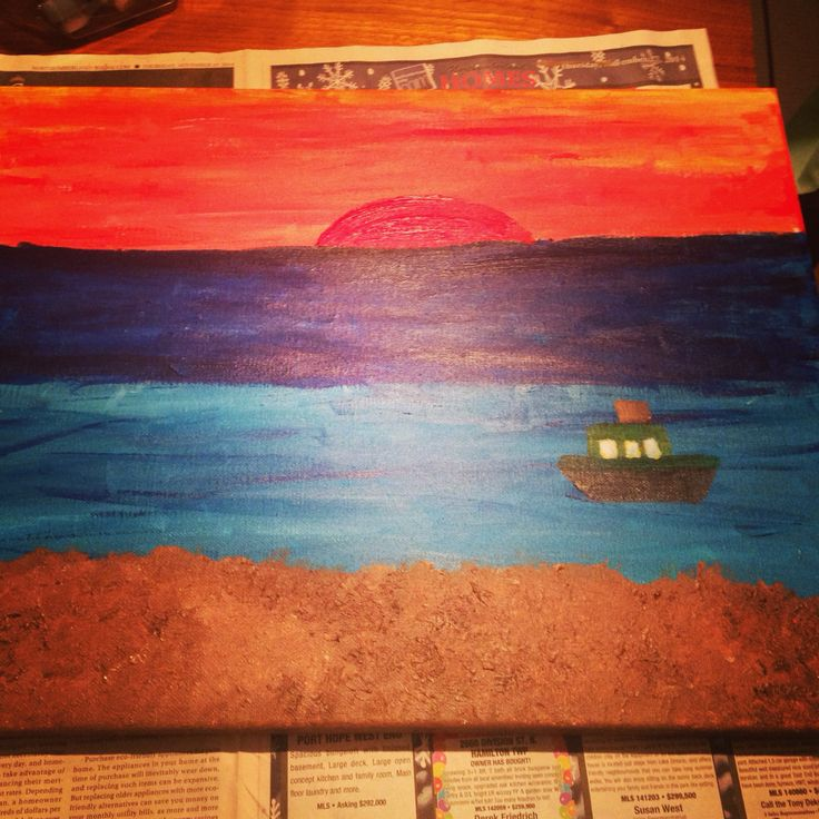 Tug boat with sunset