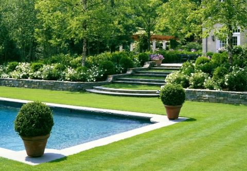 emerald jewelry Green grass and blue water | Garden ideas |  | Pools, Grass and Lawn