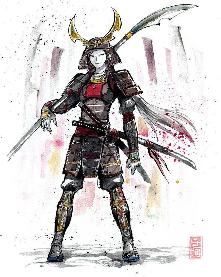 Samurai Girl In Armor Sumie Style By Mycks Deviantart Com On Deviantart Female Samurai Samurai Drawing Samurai Art