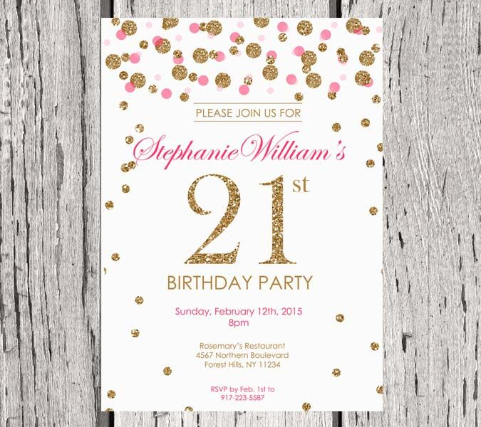 Elegant birthday invitation. White. Gold Glitter Birthday Party invite. Adult Birthday. Polka dot. Printable digital DIY.
