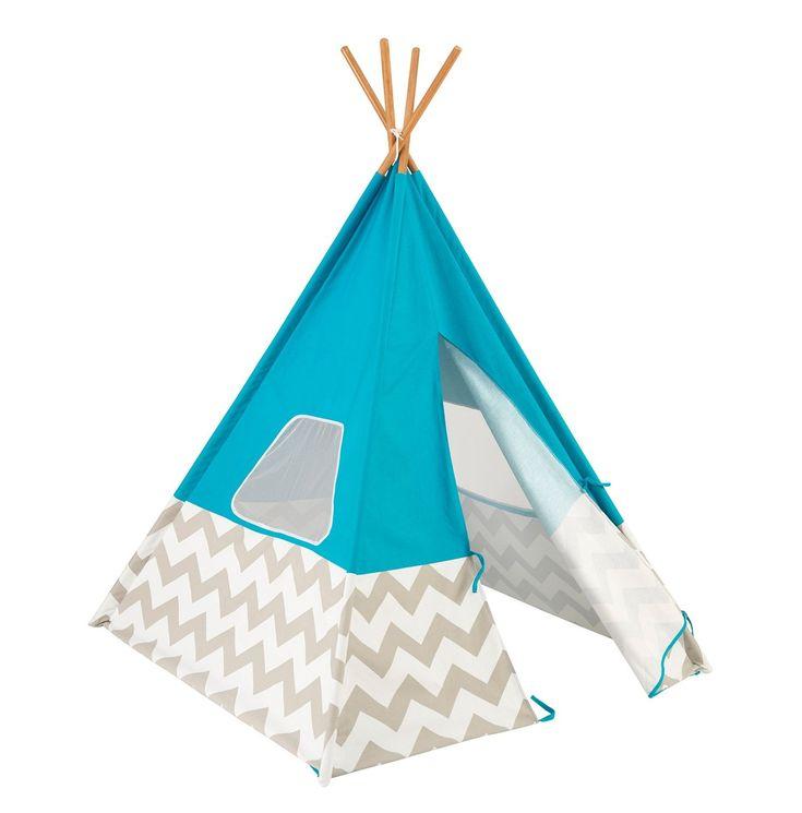Tipi o tienda india azul para niños con estampado Chevron gris y blanco