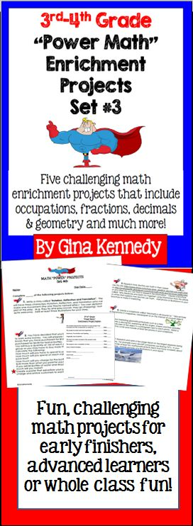 """NO-PREP! With this resource, """"Math Power Projects, Set #3, you will find five challenging and fun math enrichment projects that cover such mathematical concepts as area & perimeter, measurement, place value and much more for 3rd and 4th graders.  You can assign any amount of math """"power"""" projects for your students to complete as well as any timeline for finishing the projects. The projects are great for advanced learners, early finishers or whole class fun.$"""