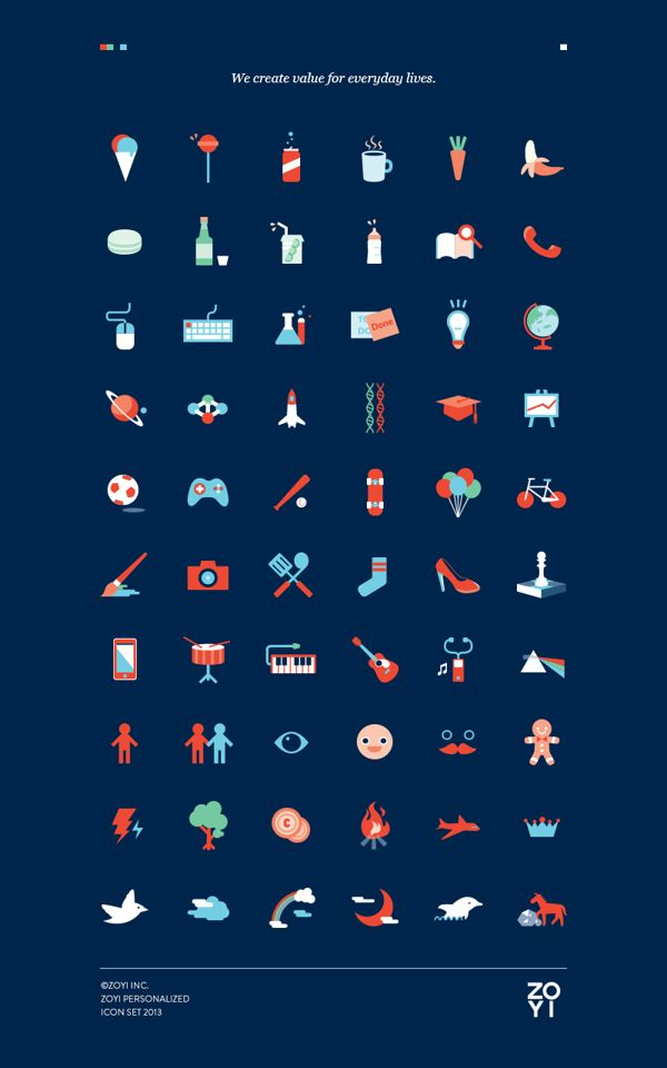 ZOYI Personalized icon set 2013 by Onasup Choi, via Behance