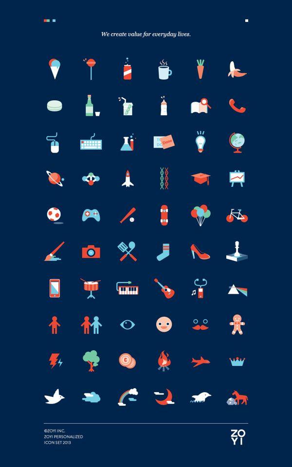 ZOYI Personalized icon set 2013 by Onasup Choi, via Behance