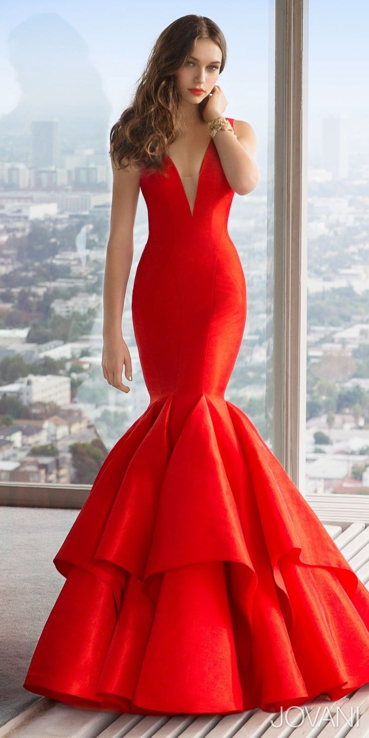 V-Neck Taffeta Mermaid Prom Dress by Jovani [red dress]