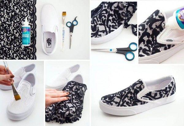 DIY Lace Sneakers   10 DIY Ways to Revamp Your Sneakers   http://www.hercampus.com/style/10-diy-ways-revamp-your-sneakers
