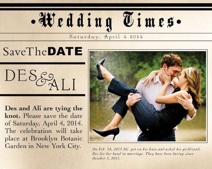 ein nettes Foto von dem beiden, die vor Wasserfall stehen - Hochzeitszeitung Beispiele