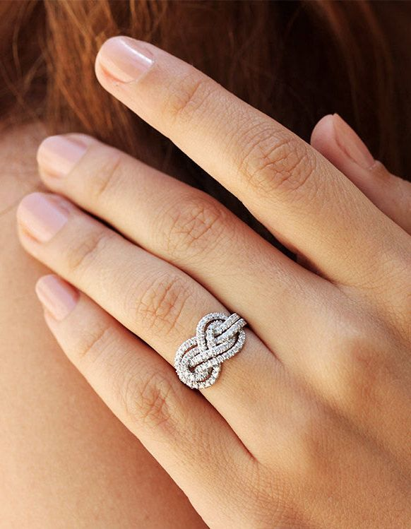 Beautiful Double Infinity Knot Diamond Engagement Ring - Unique Wedding Band