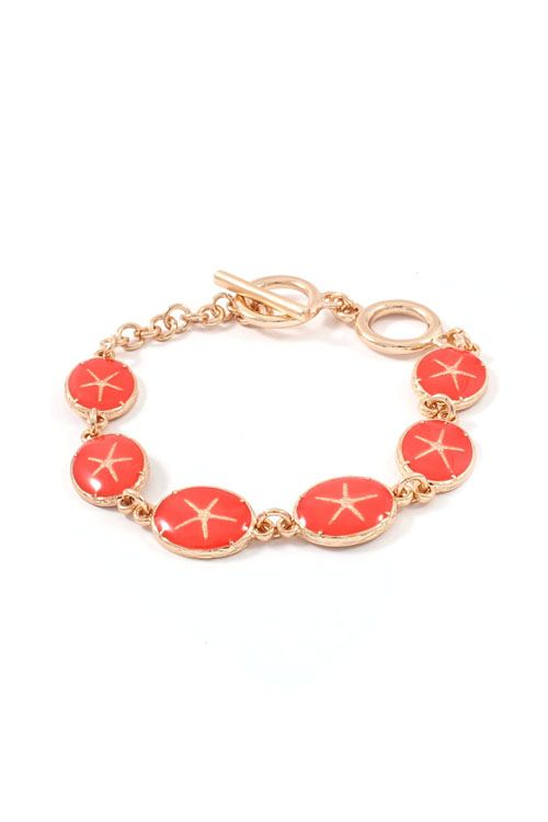 Starfish Bracelet in Coral