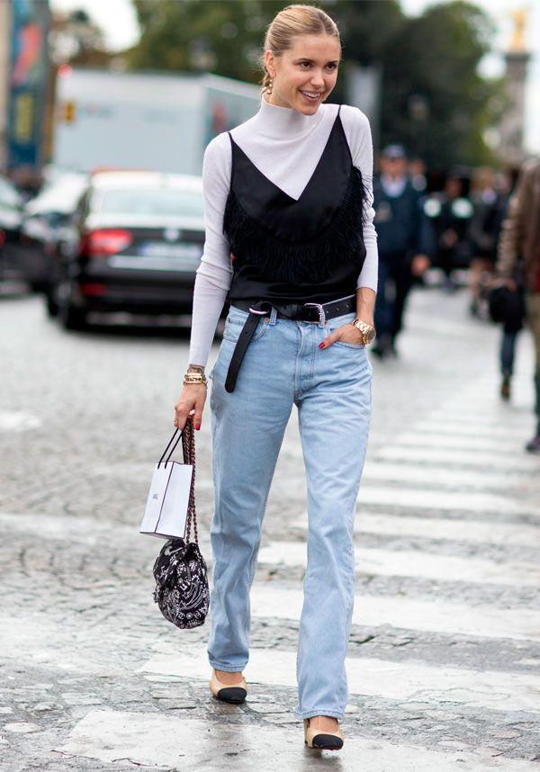 jeans + sobreposição de blusas