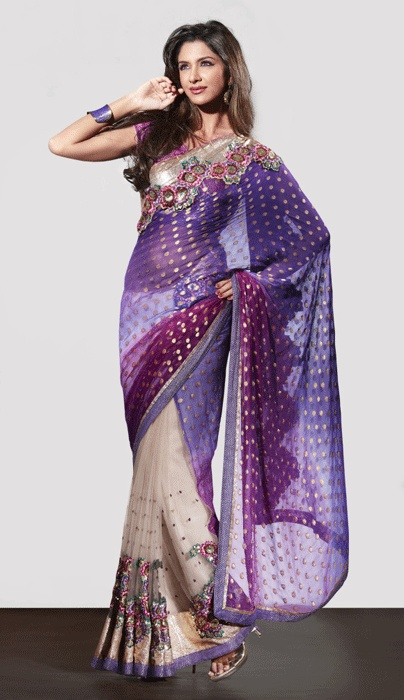 Cream And Purple Color Net And Faux Georgette Sarees