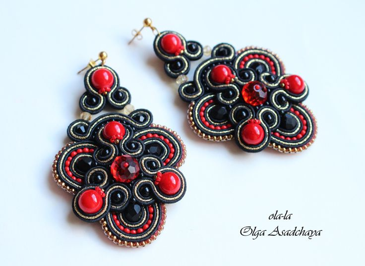 "Earrings ""Dragon's Blood""  soutache, stained agate, glass beads, Japanese beads, lace"