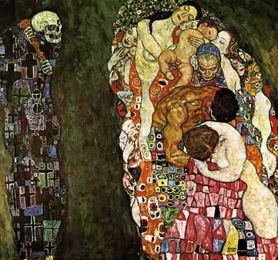 Beautiful detailed art, colours, rich gold, sensual figures...wonderful..the work of Klimt, another great Artist.