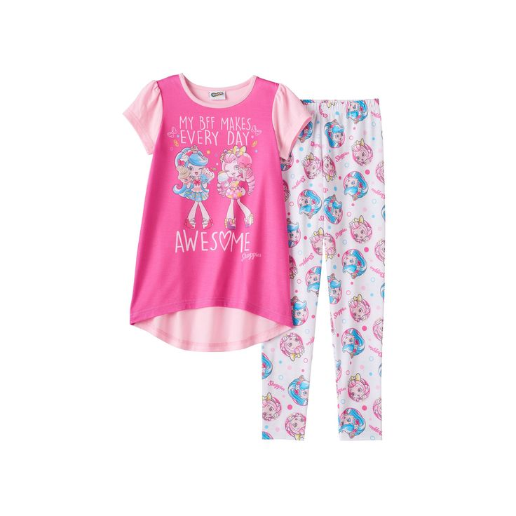 Girls 6-12 Shopkins Shoppies Jessicake & Bubbleisha Tunic & Bottoms Pajama Set, Girl's, Size: 6, Pink
