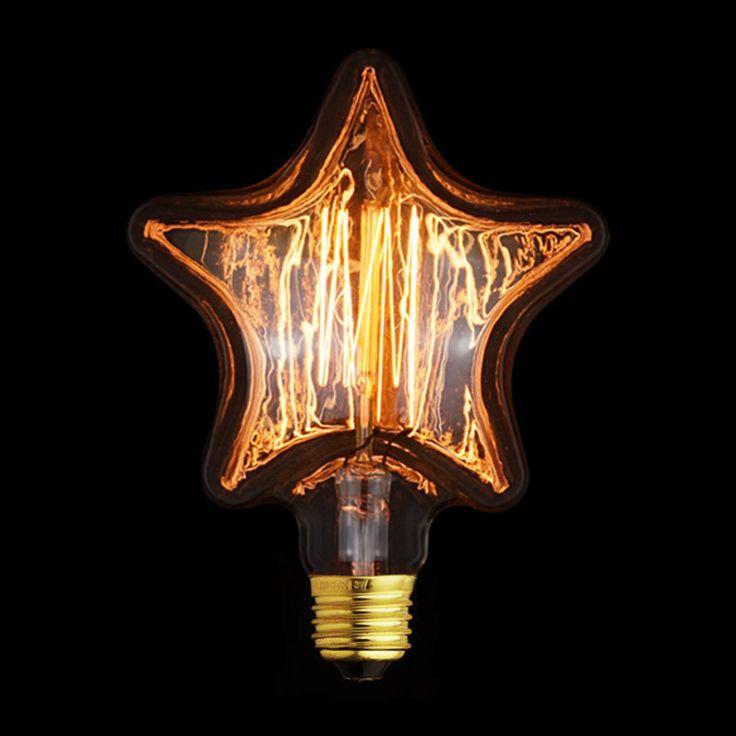 Ampoule Décorative Rétro Edison étoile (H.16cm) Filament Incandescent 40W  (E27)