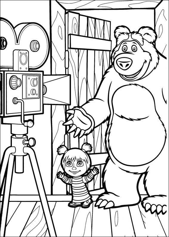 Mascha und der Bär 9 Ausmalbilder für Kinder Malvorlagen