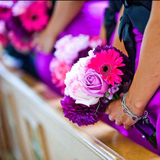 Purple Pink Wedding Centerpiece Bridesmaid Bouquets Love The Colors And Flower Choice