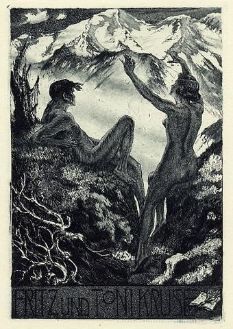 Bookplate by Alois Kolb for Fritz & Toni Kruse, ????