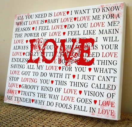 LOVE songs Canvas Art Print    http://www.artylicious.co.uk/co027.htm