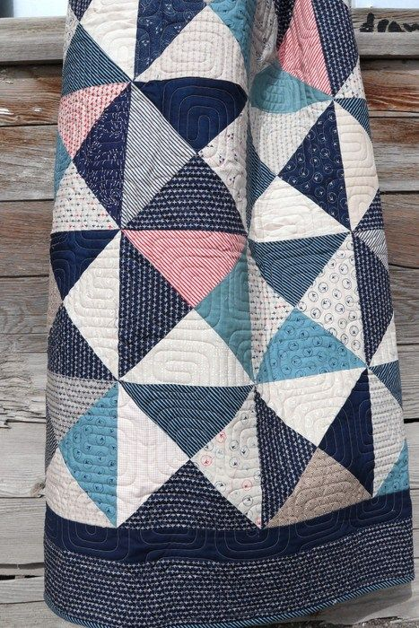 Navy, cream, blue and red Hour Glass quilt made by Amy Smart. Fabric: Flight by Janet Clare for Moda Fabrics.