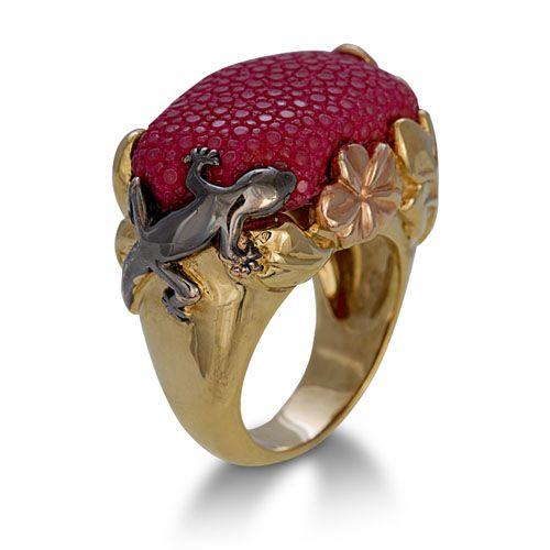 Ring stingray gold luxury jewel fashion stingray leather