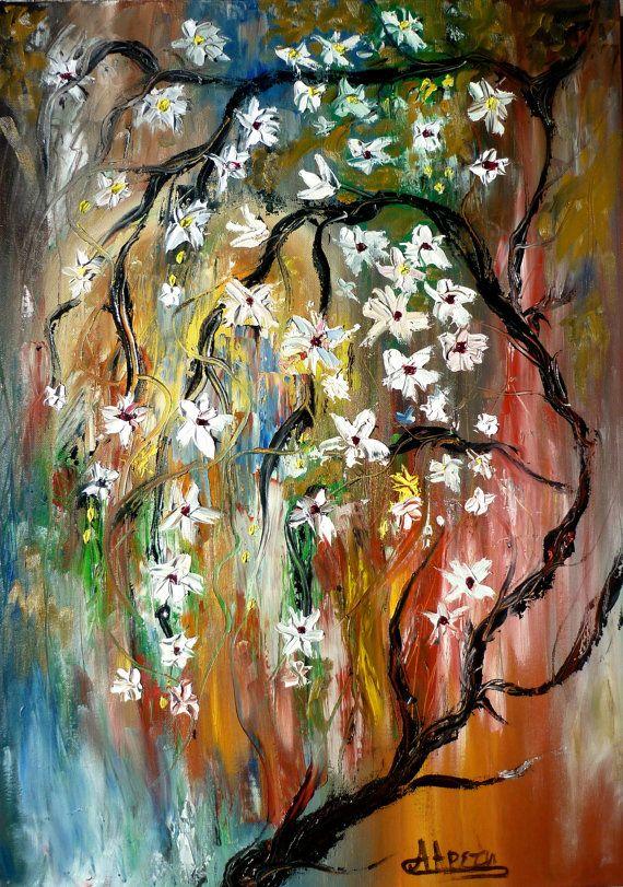 Modern abstract painting tree flowers original by artstudioAreti