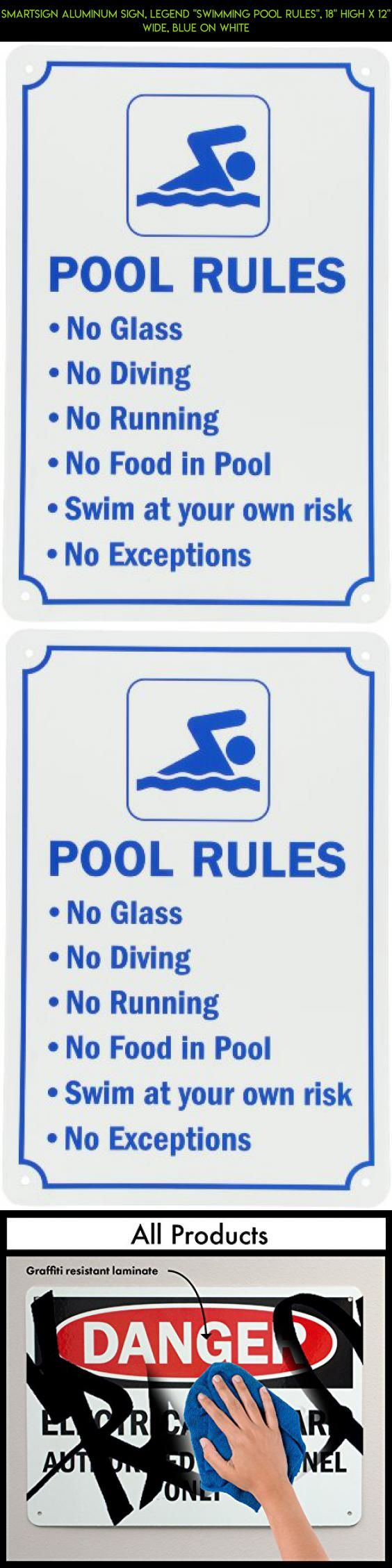 "SmartSign Aluminum Sign, Legend ""Swimming Pool Rules"", 18"" high x 12"" wide, Blue on White #camera #fpv #parts #products #kit #pools #no #gadgets #plans #drone #racing #technology #tech #shopping"