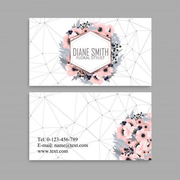 Cartao De Visita Com Lindas Flores Cor De Rosa Floral Business Cards Graphic Design Business Card Business Cards Creative