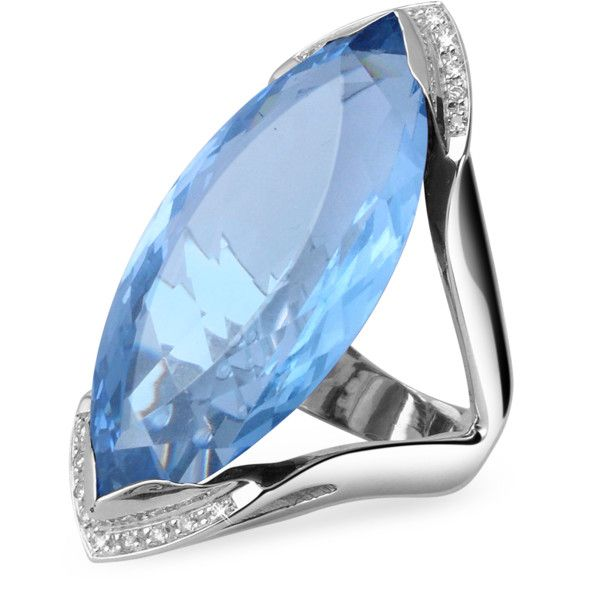 Forzieri Designer Rings Blue Topaz and Diamond White Gold Fashion Ring ($2,065) ❤ liked on Polyvore featuring jewelry, rings, diamond jewellery, 18 karat gold ring, white gold rings, 18k ring and 18 karat gold jewelry
