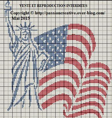 Grille gratuite point de croix : Drapeau américain et Statue de la Liberté - Le blog de Isabelle